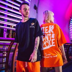 メンズ レディース ユニセックス ペアルック ダンスウェア Tシャツ 半袖 ビジュアル系 モード系 ロック トップス ワイルド サーフ系 ストリートダンス ヒップホップダンス ストリート系 B系 レッスン 練習 ビッグサイズ ロゴT オレンジ ブラック ホワイト