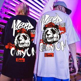 メンズ レディース 5XL 6XL 7XL 大きいサイズ パンダ ペアルック ダンスウェア モード Tシャツ 半袖 トップス ワイルド ロック ストリート ヒップホップ ジャズ ストリート系 B系 レッスン ビッグサイズ パンダ ダボT ユニセックス