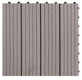 【300x300x22mm・グレー色】高品質人工木タイル・ウッドデッキタイル・ガーデニング材料・ベランダ、庭、バルコニー床、テラス作りに最適のフロアデッキパネル