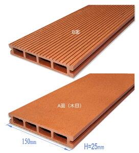 ウッドデッキ60%木 サイズ:150x25x2000 【オレンジ色】人工木、人工木材、樹脂ウッドデッキ、ベランダ・テラス・庭造りに最適