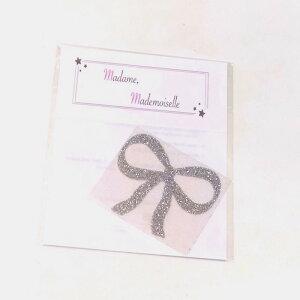 Madame, Mademoiselle アイロンシール 大サイズ リボン シルバー ゴールド ピンク 単品売り かわいい 幼稚園 入園準備 ポーセラーツ 出産準備 男の子 女の子 幼稚園準備 キラキ