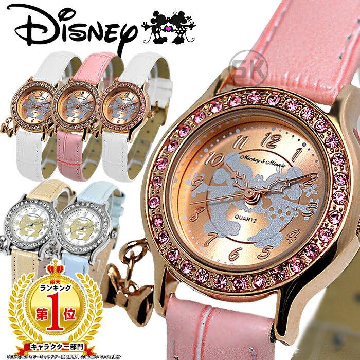 ディズニー 腕時計 レディース ミッキー ミニー キッズ 女性用 子供用 ミッキー&ミニー ラブキッス 腕時計 全4色 リボンチャーム 本牛革ベルト Disney スワロフスキー MICKEY MOUSE MINNIE MOUSE 限定 本革 LADYS LADIES プリンセス とけい ウオッチ 時計