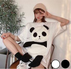 パンダアップリケTシャツ全2色 Tシャツ ゆったり アップリケ パンダ アニマル コットン ホワイト ブラック
