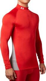 【メール便送料無料】アンダーアーマー(UNDER ARMOUR) ヒートギアアーマーLSモック(サッカー/長袖ベースレイヤー/MEN)メンズ アンダーシャツ《1343033_600》【600】RED/WHT/WHT【取り寄せ商品】