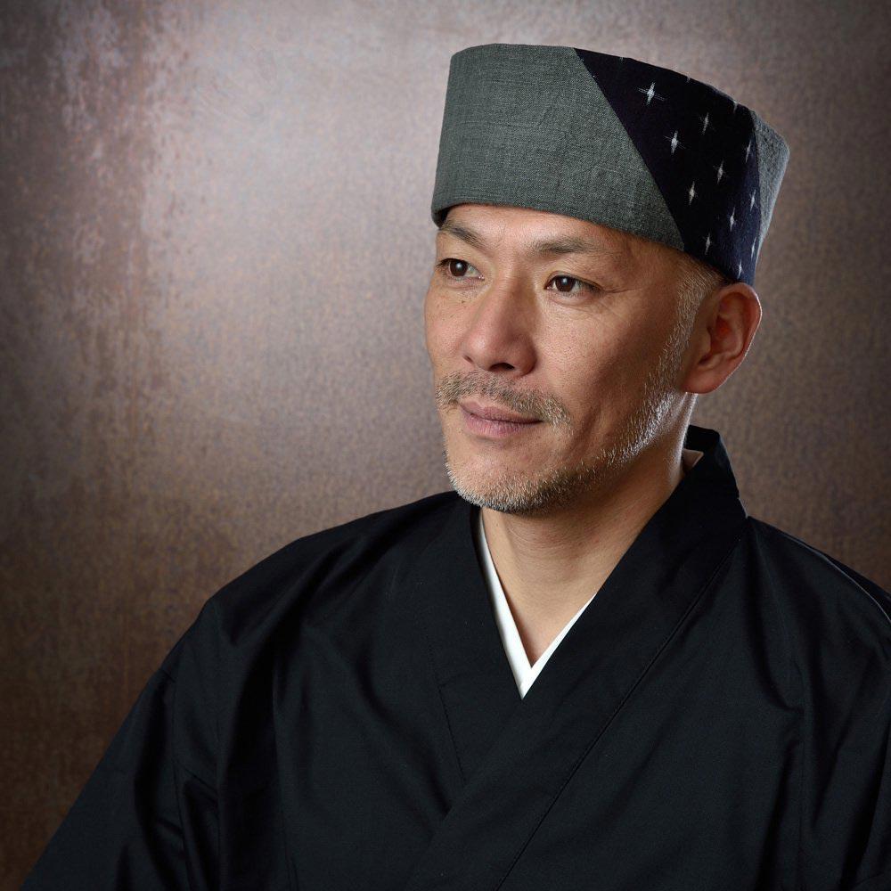 利休帽・和帽子/墨染久留米十字絣 利休帽 (S-M)/男性 紳士 メンズ