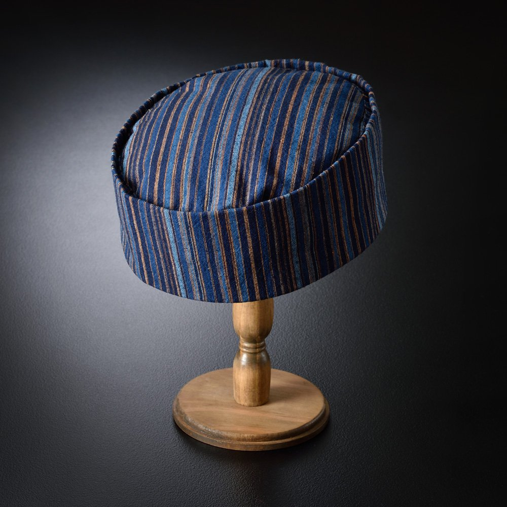 利休帽・和帽子/藍染柿渋縞柄 利休帽(L)/男性 紳士 メンズ