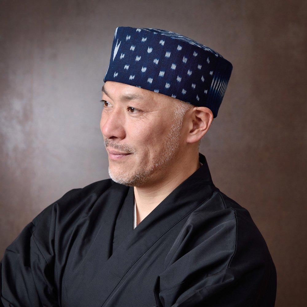 利休帽・和帽子/備後絣藍染「6種の絣 変り織」利休帽(S-M)/男性 紳士 メンズ