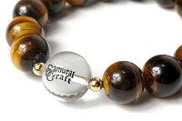 【サムライクラフト】タイガーアイ×K18ゴールド数珠ブレスレット水晶天然石パワーストーン【楽ギフ_包装】