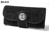 【サムライクラフト】三つ折りロングウォレットB-3エレファントブラックブラウンダブルステッチ象革グレー革財布ハンドメイド