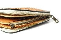 【サムライクラフト】ラウンドファスナーウォレットタイプ3ミドルサイズサドルレザーナチュラル革財布ハンドメイド