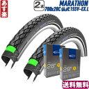 【返品保証】 シュワルベ マラソン SCHWALBE MARATHON タイヤとチューブ2本セット (700×28c-15SV EX.L) 2019 ロード…