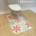 拭けるシリーズトイレマット80cm×115cm【花柄】耳長ロングかわいい清潔抗菌防カビ防炎日本製滑り止め