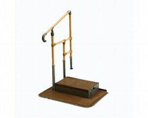 [矢崎化工] あがりかまち用たちあっぷ ステップ台付 片手すり CKE-02 MB 介護 玄関 手すり付き踏み台 置き型 置くだけ 簡単設置 工事不要 重量33.8kg 手すり高さ80〜85cm 対応段差18〜36cm ヤザキ