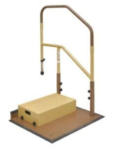 [マツ六] たよレールdan BZD-02 WD/WN ハイタイプ 片手すり 踏み台付 介護 玄関 段差昇降支え 置き型 置くだけ 簡単設置 工事不要 対応段差13〜50cm 重量38.5kg 木目ダーク/木目ナチュラル MAZROC