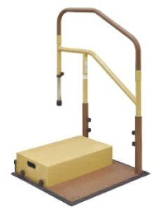 [マツ六] たよレールdan BZD-12 WD/WN 省スペースタイプ 片手すり 踏み台付 介護 玄関 段差昇降支え 置き型 置くだけ 簡単設置 工事不要 コンパクト 対応段差13〜36cm 重量32kg 木目ダーク/木目ナチ