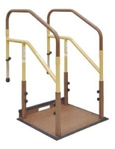 [マツ六] たよレールdan BZD-13 WD/WN 省スペースタイプ 両手すり 踏み台無し 介護 玄関 段差昇降支え 置き型 置くだけ 簡単設置 工事不要 コンパクト 対応段差9〜36cm 重量29.2kg 木目ダーク/木目ナ