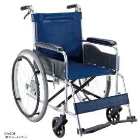 【法人宛送料無料】 マキテック 車椅子 自走式 EW-20 標準タイプ ノーパンクタイヤ仕様 背固定 リーズナブル 座幅42cm 紺/緑チェック 耐荷重100kg MAKITECH