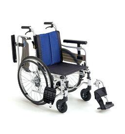 [ミキ] アルミフレーム自走用車いす BAL-5 (座面高モジュール+ウイング・スイングアウト ノーパンクタイヤ・介助ブレーキ付)