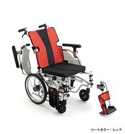 【法人宛送料無料】[ミキ] MEF-16 車椅子 介助式 モジュールタイプ(座幅調節可能) ノーパンクタイヤ仕様 折りたたみ 座クッション付 肘掛跳ね上げ 脚部スイングアウト 耐荷重100kg 座幅40/42/44cm ブルー/レッド MiKi
