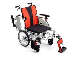 【法人宛送料無料】[ミキ] MYU5-16 ミューファイブ 車椅子 介助式 ノーパンクタイヤ仕様 モジュールタイプ(座面高調節可能) 折りたたみ 座クッション付 肘掛昇降 肘掛跳ね上げ 脚部スイングアウト 耐荷重100kg ブルー/レッド MiKi