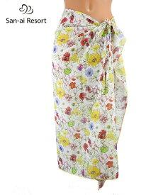 【San-ai Resort】リバティファブリック フラワープリント パレオ F 水着 みずぎ ミズギ パレオ レディース水着