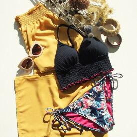 【SALE】 【AI Pink】(水着用/リゾートウェア/水陸両用)Soft dechine シャーリングロング パンツ M 水着 みずぎ ミズギ パンツ レディース水着