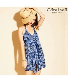 【SALE】 Coral veil タイダイペイズリーパレオワンピース 3点セット水着 9号/11号/13号 水着 みずぎ ミズギ 3点セット水着 レディース水着