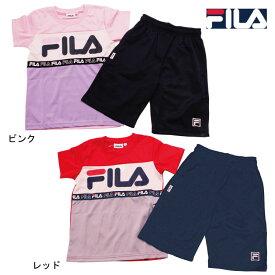 Tスーツ 上下セット フィラ《FILA》女の子 ジュニア Tスーツ トレーニングウエア半袖Tシャツ・ハーフパンツ 女児 ジュニア上下セット130/140/150/160cmJ2311
