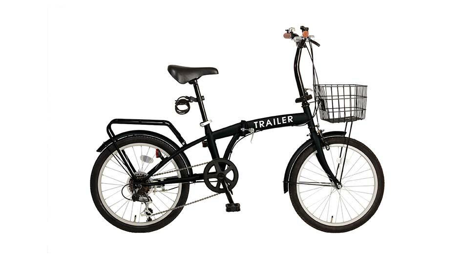 欠品中次回6月入荷TRAILER20インチ折りたたみ自転車 6段変速カゴ/カギ/ライト付 ブラック色BGC-F20-BK
