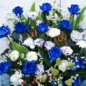 アレンジメント青ばら12本&他の花も混ぜ活けたオリジナル12本 青バラ 青いバラ ブルーローズ サプライズな贈り物  キャバクラ 生花 誕生日 花 プレゼント ギフト生花 アレンジメン