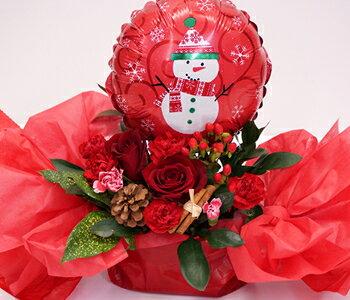 【送料無料】バルーンwithアレンジメント♪♪風船と花セットクリスマスバージョン!!【サプライズプレゼント】