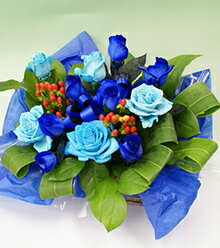 青いバラ&グリーンアレンジメント5000バラ(薔薇)花言葉は・・・不可能/有り得ない/神の祝福/奇跡
