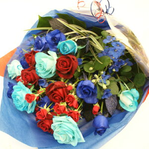 青バラ入り花束 青バラ9本と他の花も混ぜて花束 【お誕生日出産祝いなど 記念に残るサプライズ】青い薔薇 青いバラ 青バラ ブルーローズ キャバクラ 生花 誕生日 花 プレゼント ギ