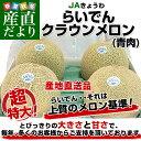 北海道より産地直送 JAきょうわ らいでんクラウンメロン 青肉 8キロ(2キロ×4玉)