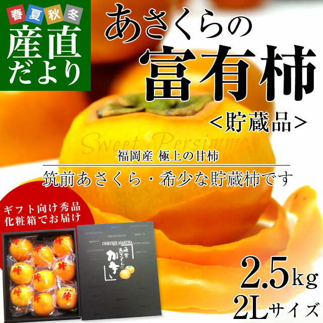 送料無料 福岡県から産地直送 JA筑前あさくら あさくらの富有柿 <貯蔵品> 秀品 2Lサイズ 2.5キロ(9玉)