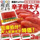 送料無料 福岡加工 辛子明太子 人気の食べ切り1本もの 山盛3箱セット(16から18本×3箱)