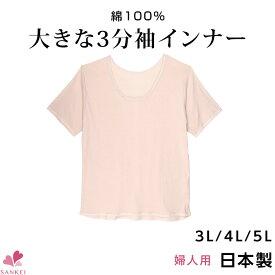 大きな3分袖インナー【3L 4L 5L】日本製 綿100% 半袖 大きいサイズ 肌着 婦人 インナー レディース コットン 無地こちらの商品はお届けまでに一週間ほどかかる場合がございます【三恵】