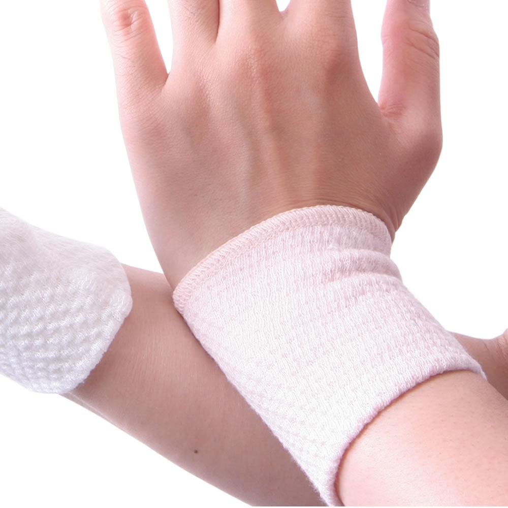 国産 日本製 EM綿 コットン リストバンド(両手用)ポスト投函 メール便(あす楽対応 ネコポス)送料無料/腕時計の金属アレルギー対策に 綿 コットン薄手ワッフル織りプレゼント