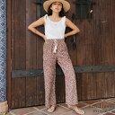 軽く サラサラ レオパード 美脚 ストレート ワイドパンツ 低身長から高身長まで【選べる丈感2サイズ】体型カバー シル…