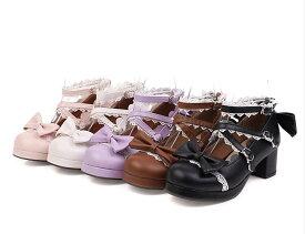 サイズ有22.0〜29.0】大きいサイズ ロリータ靴 メイド靴 女の子 リボン付き パンプス ロリータ シューズ お嬢様