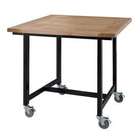 商品名:MALE テーブル w80【スチール】【ダイニングテーブル】【ブラック】【SGUY】【集積材】【キャスター】【カフェ】【黒脚】【什器】【楽天】【通販】【671】【木天板】【作業台】【可動式】【集成材】
