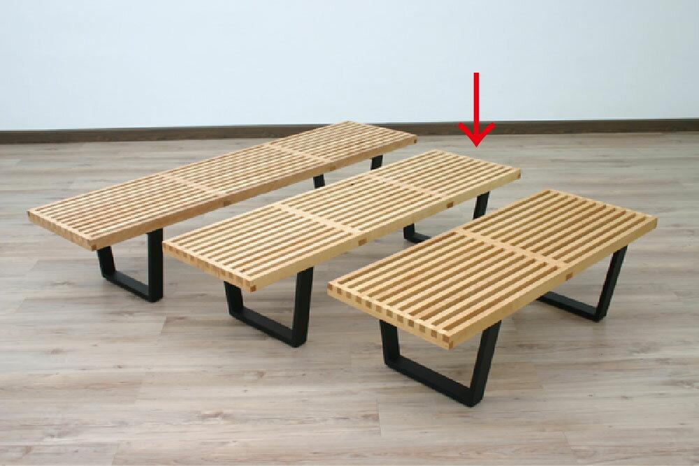 【デザイナー:ジョージ・ネルソン】商品名:Nelson Platform Bench(プラットフォームベンチ)【幅152.5cmタイプ/ガラス天板付き】【メープル材】【リプロダクト/復刻版】【ネルソンベンチ】【CanadaFesta2010】