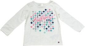 Tommy Hilfiger(トミーヒルフィガー) モザイクデザインラメロゴTシャツ(ホワイト)