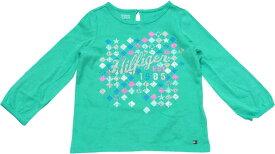 Tommy Hilfiger(トミーヒルフィガー) モザイクデザインラメロゴTシャツ(エメラルド)