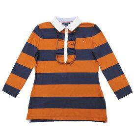 【レディース】Tommy Hilfiger(トミーヒルフィガー) ラッフルボーダーストレッチ鹿の子ポロシャツ