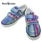 RalphLauren(ラルフローレン)BOLLINGBROOKEZSapphirePlaidボーリングブルックイージーベルクロスニーカーキッズチャイルド靴
