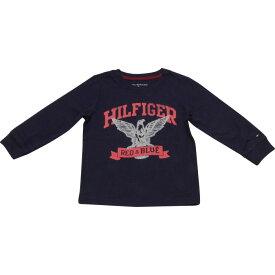 Tommy Hilfiger(トミーヒルフィガー) イーグルロゴクラックプリントTシャツ(Navy)