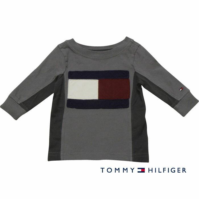 Tommy Hilfiger(トミーヒルフィガー) フラッグアップリケTシャツ(Gray)