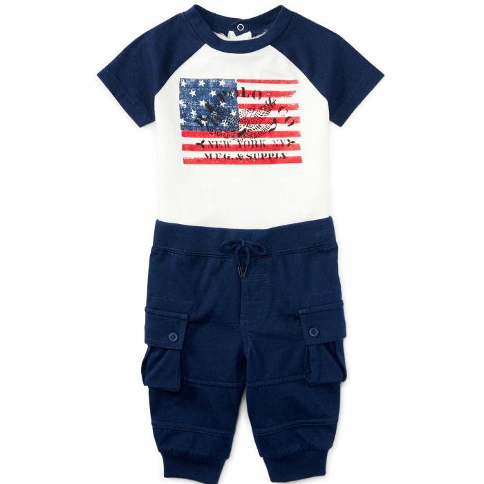 Ralph Lauren(ラルフローレン) 星条旗デザインTシャツ&カーゴ風パンツセット【6M/9M/12M/18M/24M】※送料無料/沖縄・一部離島は除く