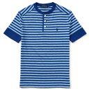 【ジュニアサイズ】POLO RALPH LAUREN(ラルフローレン) ヘンリーネックワンポイントボーダーTシャツ(Blue Multi)【S/M…